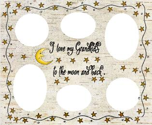 love grandkids to moon and back whitecollage, magnetic collage,magnetic collage, magnetic frame, fridge frame, magnetic fridge frames, fridge frames, frames for the fridge, fridge, frames, collages, magnets, magnet collage, magentic frame